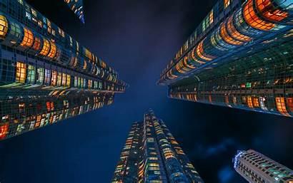 Korea Seoul Night Skyscrapers Modern Buildings South