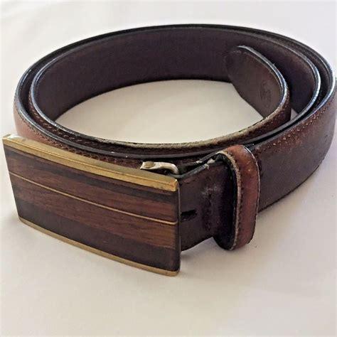 36 Kenneth Reid Inlaid Wood Buckle Belt Brown Full Grain