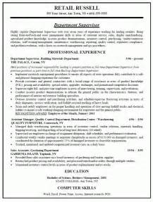 retail stock manager resume retail store manager sle resume sles of resumes