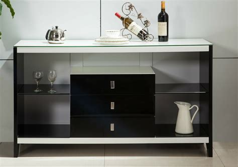 White Glass Sideboard by High Gloss White 3 Drawers Buffet Sideboard Tempered Glass