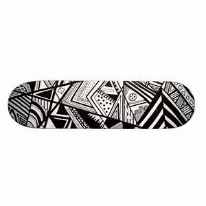 Cute black white abstract drawing patterns skateboard deck ...