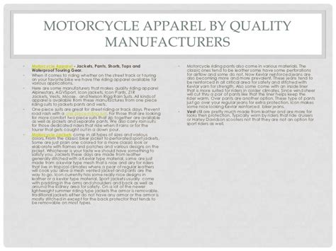 Different Types Of Motorcycle Apparel