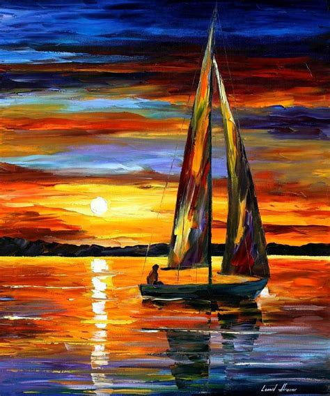 Sailing Boat Art by Sailing By The Shore Palette Knife Oil Painting On