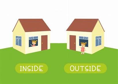 Outside Inside Antonyms Opposite Vector Clip Teaching