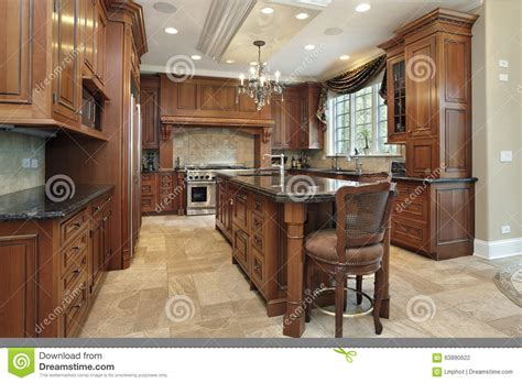 kitchen with large granite island stock photo image