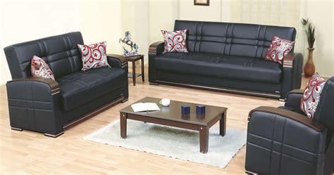 bronx bonded leatherwood storage living room set black