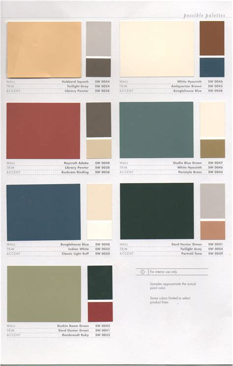 Interior Paint Colors Sherwin Williams by Interior Color Combos Sherwin Williams Arts And Crafts