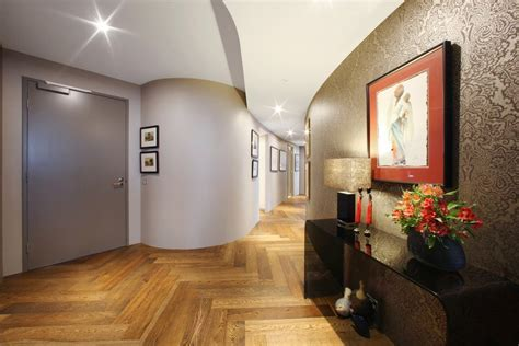 hallway entrance entry modern with wood top handrail