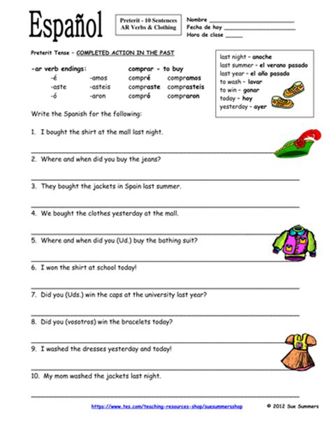 Spanish Preterit Ar Verbs And Clothing Sentences Worksheet  La Ropa By Suesummersshop