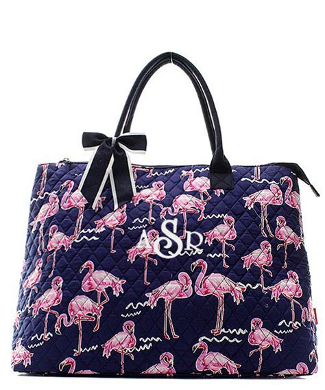 personalized quilted tote bag flamingo