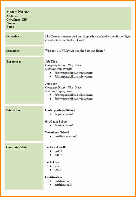 Sle Cv Layout by 8 Exle Of A Simple Cv Layout Penn Working Papers