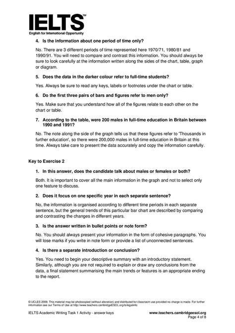 Ielts Academic Writing Task 1 Activity  Answer Keys Page 2  Ielts Writing Pinterest