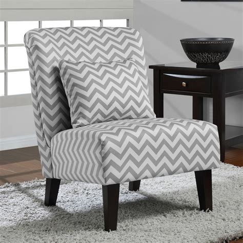 grey white chevron accent chair fabric grey
