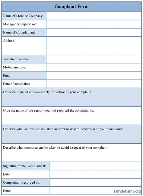 customer complaint form excel template