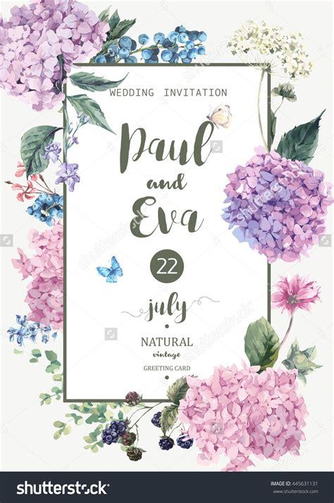 vintage floral wedding invitation  blooming hydrangea