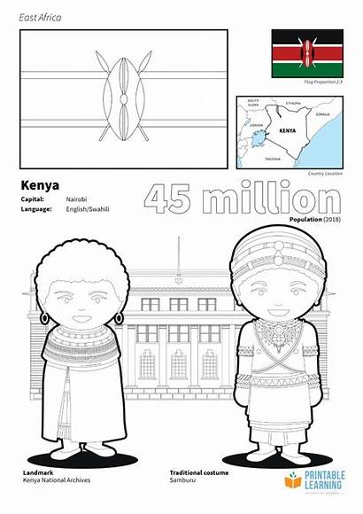 Kenya Coloring Flag Printable Learning Facts Africa