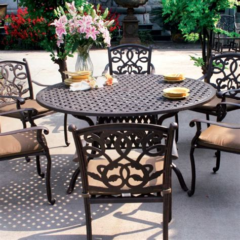 darlee santa 7 cast aluminum patio dining set