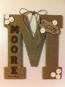 13quot monogram door letter last name twine wrapped 30 With family name letter pictures