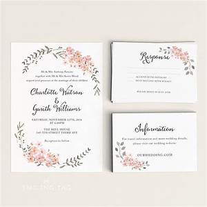printable wedding invitation printable floral wedding With wedding invitation wording samples pdf
