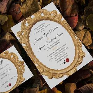 navy blue beauty and the beast laser cut wedding With beauty and the beast mirror wedding invitations
