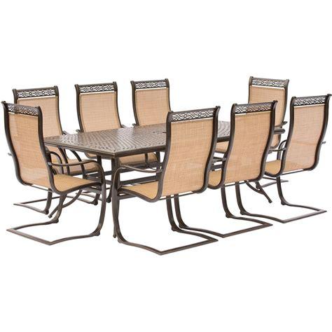 outdoor rectangular table and chairs hanover manor 9 piece aluminum rectangular outdoor dining
