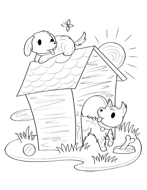printable dog house coloring page
