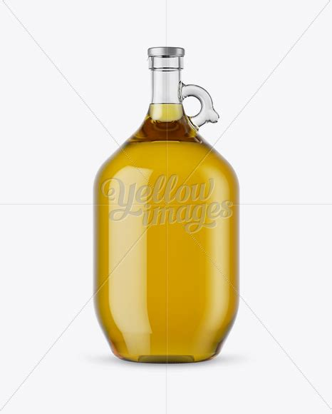 Oil bottle and spices packaging mockup. 3L Clear Glass Olive Oil Bottle With Handle Mockup in ...