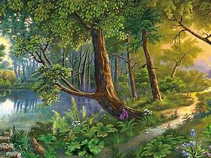 Beautiful, Landscape, Nature, Art, River, Trees, Flowers, Hd