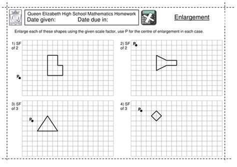 ks3 enlargement by a scale factor worksheet by jlcaseyuk teaching resources