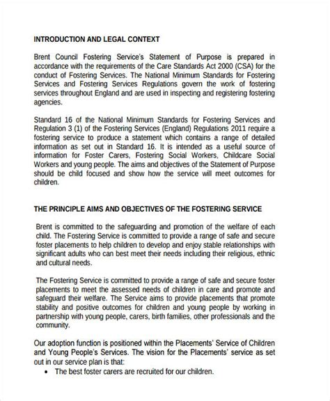 statement of purpose template 9 statement of purpose exles sles pdf word pages