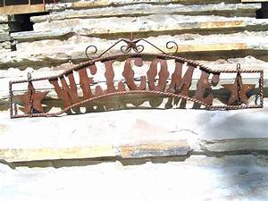 metal cutout letters welcome hanging entry sign gate 45 With metal letters for gates