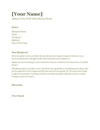 resume cover letter green