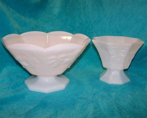 Grape and Leaf Pattern Milk Glass Bowl, Compote, 2 Piece Set