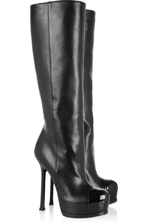 lyst saint laurent tribtoo leather  patent knee boots  black