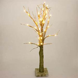battery operated gold glitter twig tree with warm white With outdoor battery operated twig lights