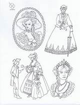 Embroidery Crinoline Patterns Lady Transfers Iron Webster Sheets sketch template