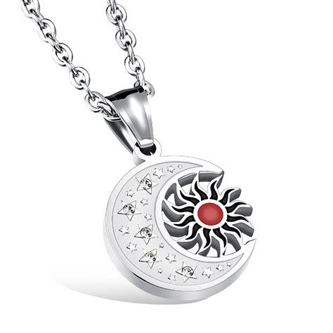 v ya stainless steel necklace 50cm link chain aaa zircon sun moon pendant necklace