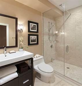 Spacious modern bathroom with frameless shower enclosure ...