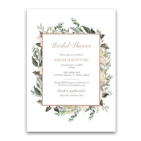 Geometric Bridal Shower Invitations Blush Peach Floral