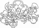 Wonderland Coloring Alice Tea Pages Party Colouring Printable Boston Disney Drawing Procoloring Sheets Drawings Characters Adult Iced Cat Google Getdrawings sketch template
