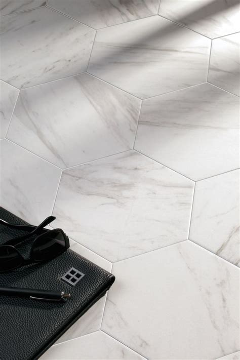 hexagon cararra marble look porcelain floor tiles hex