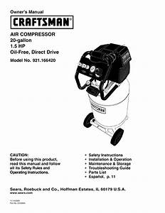 Craftsman Air Compressor 921 16642 User Guide