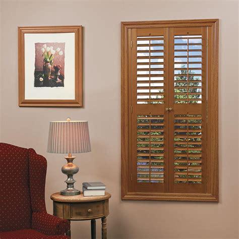 wooden shutters interior home depot homebasics plantation faux wood oak interior shutter