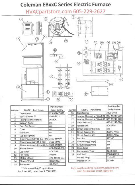 Ebc Coleman Electric Furnace Parts Hvacpartstore