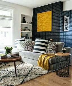 Deco Jaune Moutarde : deco salon gris jaune blanc en snuza ~ Melissatoandfro.com Idées de Décoration