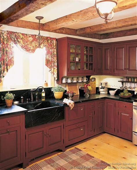 perfect red country kitchen cabinet design ideas for early american kitchens pictures and design themes