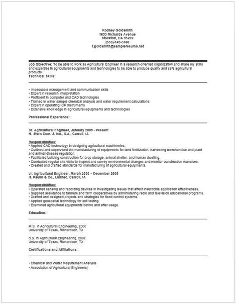 agricultural engineer resume resume