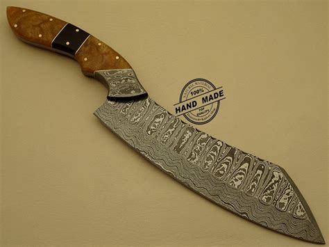 damascus knife steel kitchen handmade chef custom hunting sheaths corain handle leather 1204 chefs blade damascusknivesshop rated cart