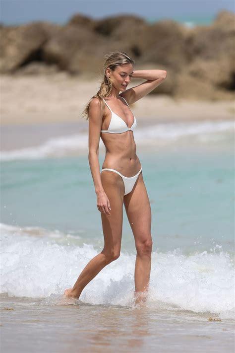 martha hunt  white bikini  miami beach