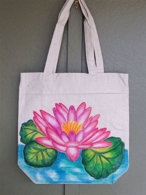 hand painted tote bag water lily  etsy  artwork